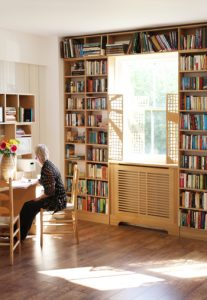 Jali bespoke desk, shelving, shutters and radiator cabinet