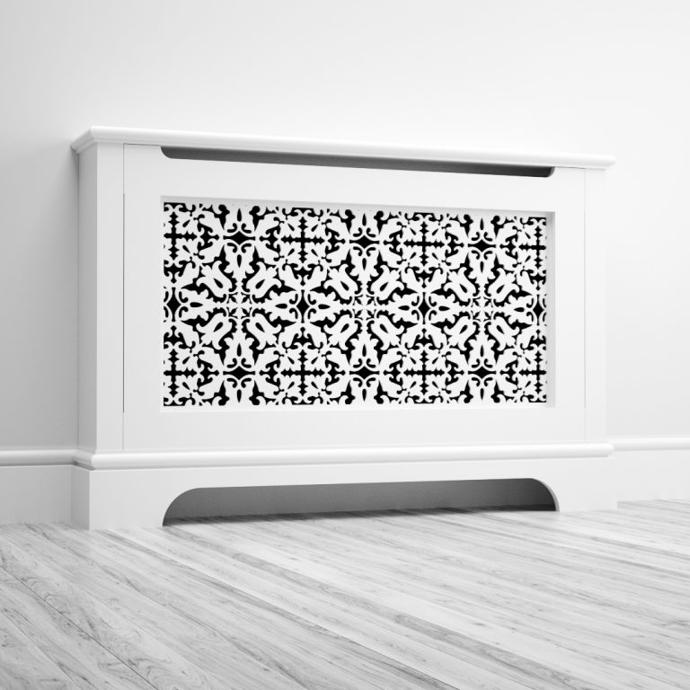 Classic radiator cover with decorative grille