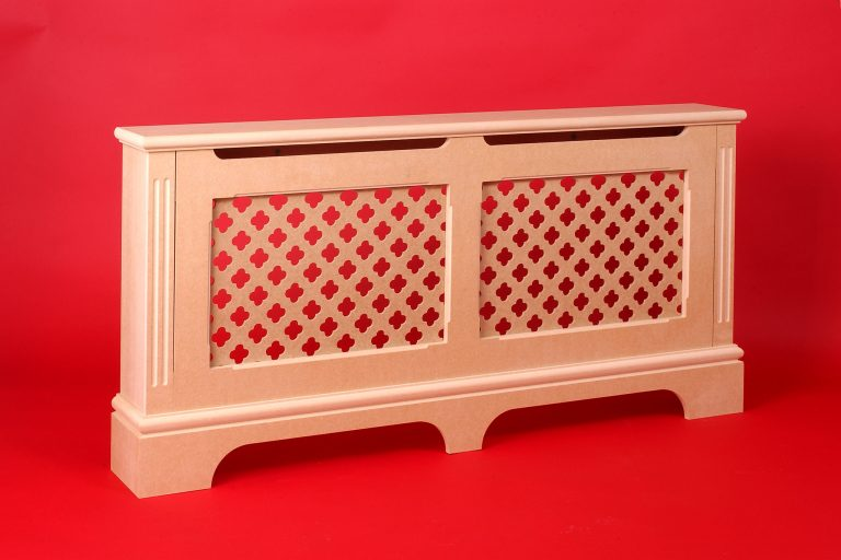 Natural MDF radiator cover on red