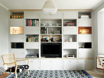 Large White Custom Made TV Cabinet with Cupboards and Shelving for Extra Storage