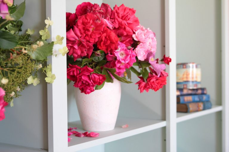 Flowers on bookcase