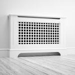 Radiator cover with squared grille