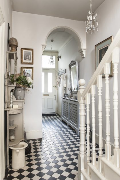 Classic Radiator Cabinet in a Tiled Hall