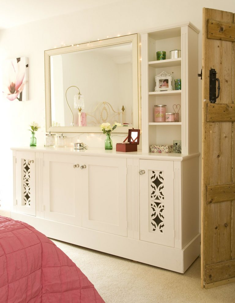 White top coat custom made dresser with shelving and decorative shaker doors