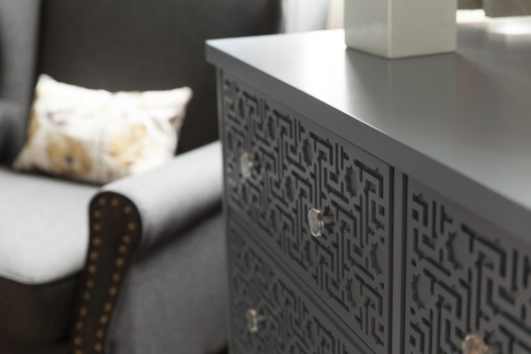 Grey Soft Close Drawers with an Eastern Fretwork Design