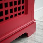 Red top coat finish on radiator cover
