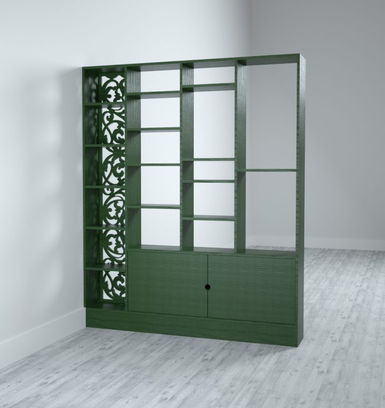 Shelving divider with fretwork