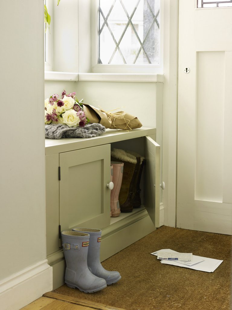 Shoe Cupboard Doubles as a Seat in Alcove