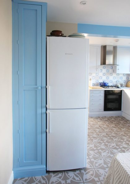 A Tall Blue Kitchen Cupboard