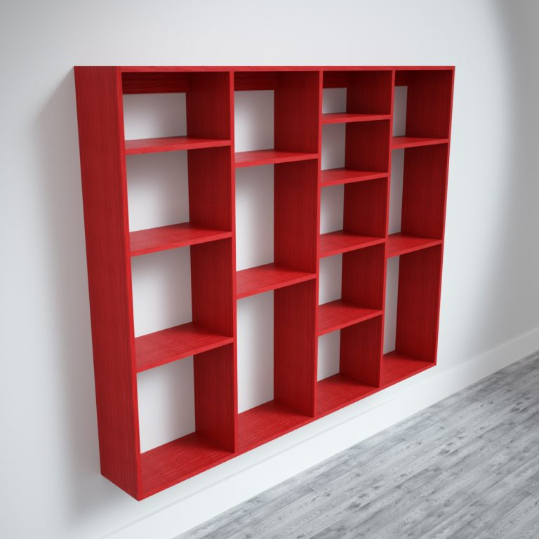 Wall mounted red shelving