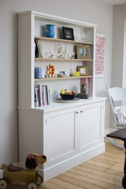 White Dresser Offers Shelving and Storage