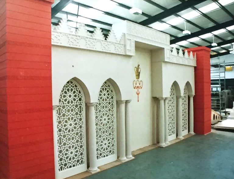 Large Decorative Installation for an Islamic Community Ceremony with Easy to Assemble Arches, Fretwork and Columns